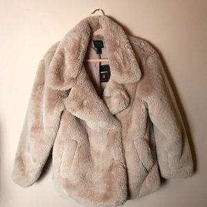NWT Forever 21 Dusty Pink Fur Coat Jacket Small